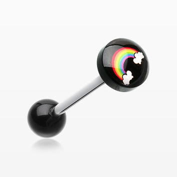 Rainbow Logo Acrylic Barbell Tongue Ring