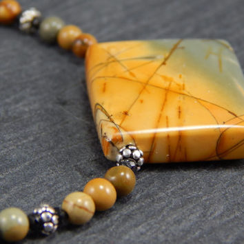 Picture Jasper, stone pendant necklace, sterling silver handmade clasp