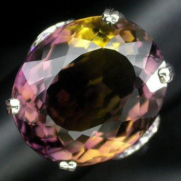 A 23.4CT Oval Cut Pink Yellow Orange Ametrine (Bolivianite) Sapphire Ring