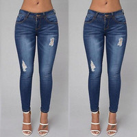 Women`s Fall Winter New Fashion Stretch Ripped Knees Distressed Skinny Denim Jean Pants High Waist Jeans Woman