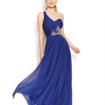 Joanna Chen One-Shoulder Embellished Cutout Gown