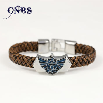 Hot Game The Legend of Zelda Silver Alloy Bracelet Leather Woven Punk Bangle cosplay jewelry can dropshipping YS10832