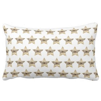 Stars Pattern White Gold Look Elegant Christmas Lumbar Pillow