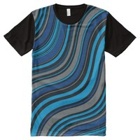 Abstract Waved Lines All Over Print Shirt