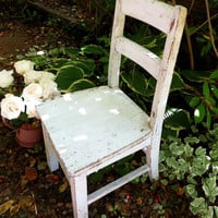 Vintage Wooden Chair, White Chippy Paint, Weathered, Small Size, Rustic Sturdy Porch Furniture, Farmhouse Cottage Primitive Decor