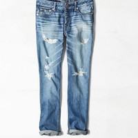 AEO Women's Boy Jean Crop (Medium Destroyed)