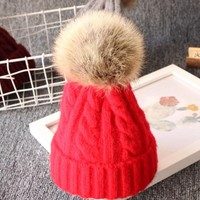 Newborn Baby Kid Boy Girl Warm Knit Beanie Hat Fur Pom Beret Crochet Hemming Cap