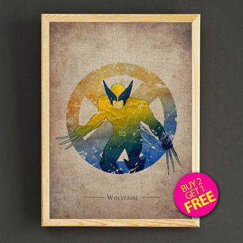 Wolverine Watercolor Art Print X-MEN Comic Superhero Poster House Wear Wall Art Decor Gift Linen Print - Buy 2 Get FREE - 160s2g