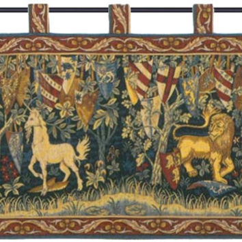 Lion et Licorne Heraldiques Tapestry Wall Art Hanging