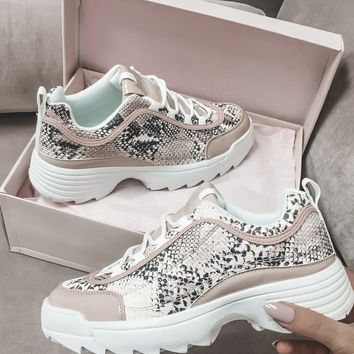 Hiss Kiss Beige & Blush Snake Sneakers