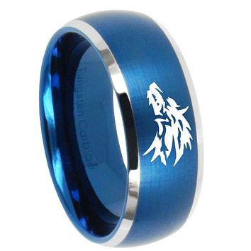 10mm Wolf Dome Brushed Blue 2 Tone Tungsten Carbide Men's Engagement Band