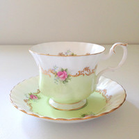 Rare English Bone China Royal Albert Tea Cup and Saucer Invitation Series Pattern Montrose Shape Pastel Green Tea Soiree