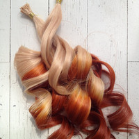 "18"" Copper Hair, Blonde Hair, Ombre, 20 Pieces, Dipped, I-Tip, Human Hair Extensions, Cold Fusion, Tipped Extensions, Ready To Ship"