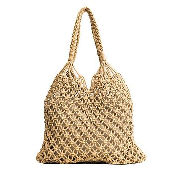 Bohemian Tote Bag Woven Khaki Beige Large Shopping Bag Boho Beach Bag Handmade From Natural Fibers