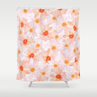 orange and pink watercolor dahlias Shower Curtain by Sylvia Cook Photography