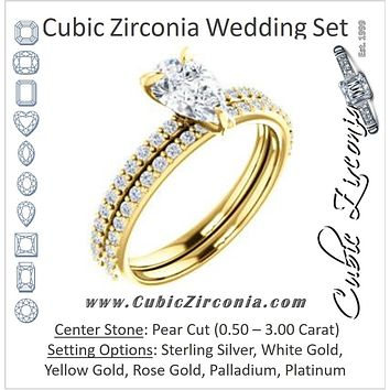 CZ Wedding Set, featuring The Geraldine Lea engagement ring (Customizable Pear Cut with Delicate Pavé Band)