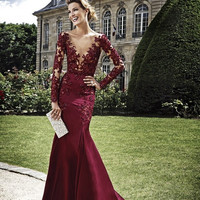 See Through Prom Dress,Burgundy Prom Dresses,Long Evening Dress