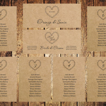 Wedding Seating Chart, Editable Text, Rustic Kraft Wedding Seating Chart template, Download Instantly, digital PDF, you print, DIY