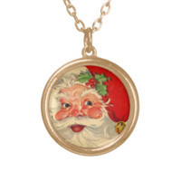 Christmas Gift Set Vintage Smiling Santa Personalized Necklace