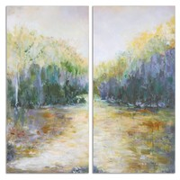Summer View Landscape Hand Painted Diptych Artwork -  Set of 2 by Uttermost