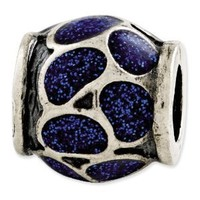 Genuine Reflection Beads (TM) Bead Charm. Sterling Silver Reflections Blue Enamel with Sparkles Bead. 100% Satisfaction Guaranteed.