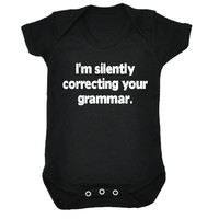 123t USA Baby I'm Silently Correcting Your Grammar Funny Babygrow