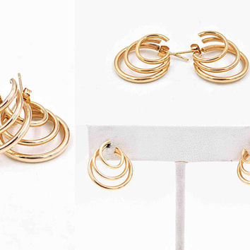 Vintage 10K Yellow Gold Triple Hoop Pierced Earrings, Graduated, 5/8 Inch Hoops, Post Style, Petite, 1.3 Grams, Lovely! #c574