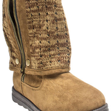 Muk Luks Demi Women's Fold Over Sweater Ankle Boots