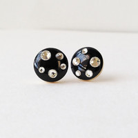 Black Earrings, Sparkly Black Stud Earrings,  Rhinestone Black Stud Earrings, 10 mm Stud Earrings, Hypoallergenic, Resin Jewelry, For Her