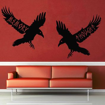 Huginn and Muninn - Norse Mythology - Wall Decal$8.95