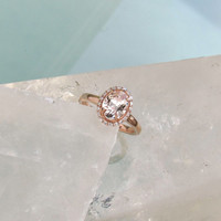 Champagne Peach Sapphire 14k Rose Gold Diamond Halo Engagement Ring Weddings Anniversary