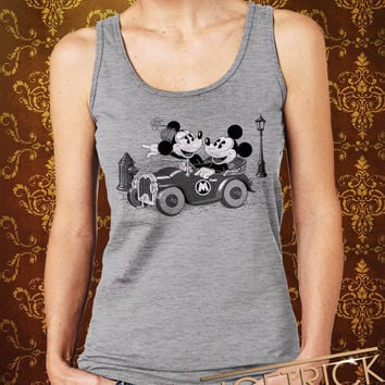 Old Mickey & Minney Mouse With Car Women's Tank - Mickey Mouse Tank - Disney Design For Women Tanktop (Color Available)