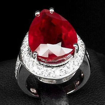 Vintage 19CT Pear Cut Red Ruby White Sapphire Halo Ring
