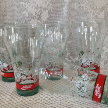 Coca Cola Glasses, Christmas Holidays, Pine Cones, Green Tint, Red Banded, Classic Coke Glass Shape, Set of Five Retro Libbey Glasses