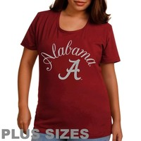 Alabama Crimson Tide Ladies Plus Size Arch Logo Glitter Scoop Neck T-Shirt - Crimson