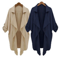 Oversized Womens Loose Batwing Blazer Cardigan Chiffon Suit Jacket Tops Blouse = 1946765636