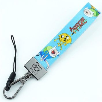 Cartoon Adventure Time jake finn Keychain Ribbon Phone Strap Key Chain Ribbon Keyring Lanyard Charms Pendant Trinket Accessories