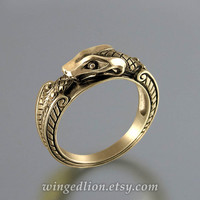 OUROBOROS 14K yellow gold mens ring