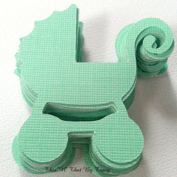 Baby Stroller Die Cuts. Baby Showers, Scrapbook Supplies, Card Making Supplies.Set of 25 Green Baby Strollers, Baby Carriers, Baby Buggies
