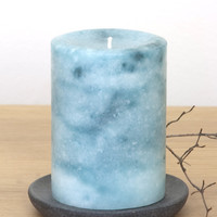 Teal Pillar Candles with Marble Effect 3 x 4""