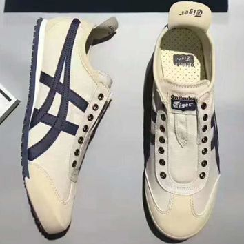 asics onitsuka tiger mexico trending fashion women casual sports shoes white navy g psxy  number 1