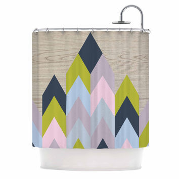 "Suzanne Carter ""Woodgrain"" Geometric Shower Curtain"