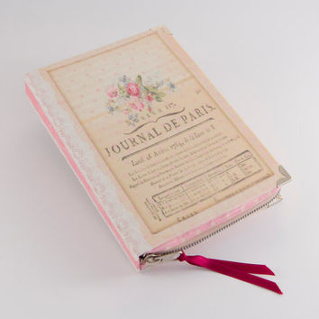 Pink Lace Romatic Journal book Clutch