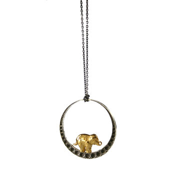 Elephant & The Moon Necklace
