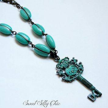 Antique Key with Turquoise Beads Long Necklace, Antique Brass, Chunky Statement Necklace, Large Key Pendant Necklace