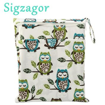[Sigzagor]Wet Dry Bag With Two Zippered Baby Diaper Bag, Nappy Bag,Waterproof, Reusable,36cmx29cm Owl&Tree 79 Designs