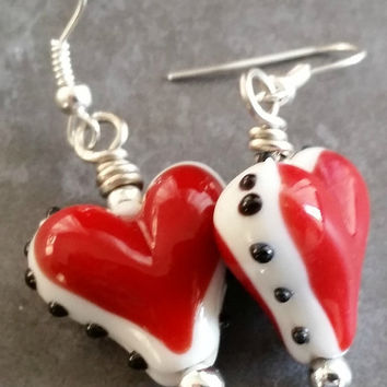 Whimsical Red Deco Glass Lampwork Earrings