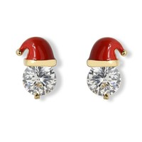 Crystal Christmas Cap Earrings