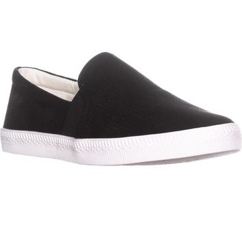 SC35 Louiza Perforated Slip-On Sneakers, Black, 5.5 US