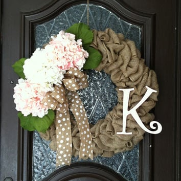 Spring Wreath, Hydrangea Wreath, Burlap Spring Wreath, Personalized Spring Wreath, Pink Spring Wreath, Easter Wreath, Burlap Spring Wreath